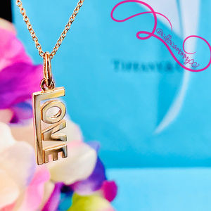NWOT Tiffany & Co 18K Rose Gold LOVE Charm Pendant